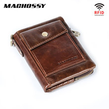 New RFID Protection Genuine Leather Men Wallet Coin Purse Small Short Card Holder Chain PORTFOLIO Portomonee Male Walet Pocket