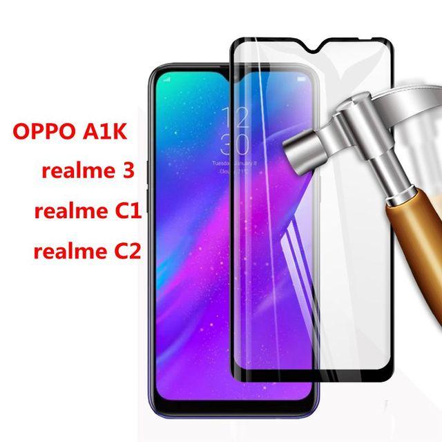 3D Volledige Lijm Gehard Glas Voor Oppo A1K Oppo Realme 3 Full Screen Cover Screen Protector Film Voor Oppo Realme c1 C2