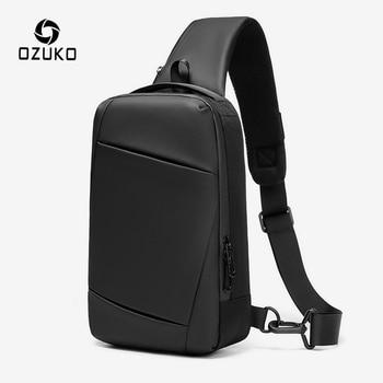 OZUKO Men USB Charging Crossbody Bags Waterproof Messenger Chest Bag Male Short Trip Sling Bag Large Capacity Shoulder Bag Black