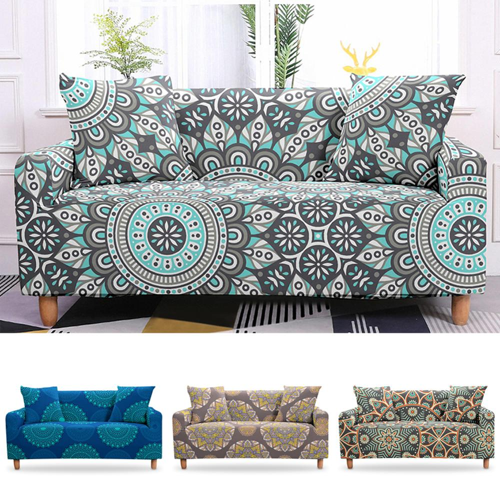 Mandala Bohemian Sofa Cover Sectional Slipcover Cover 2/3 Seater Couch Cover Elastic Stretch  Armchair Cover For Living Room