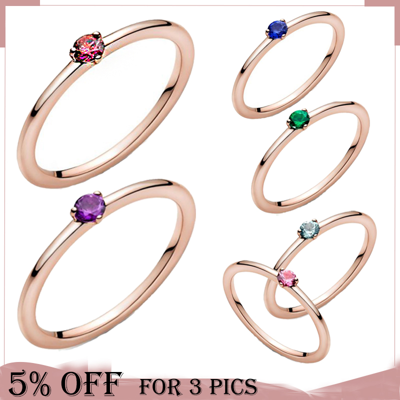 2021 saint valentin à la mode 925 en argent Sterling or Rose anneaux rouge Rose Zircon pour les femmes fiançailles anniversaire bijoux cadeau