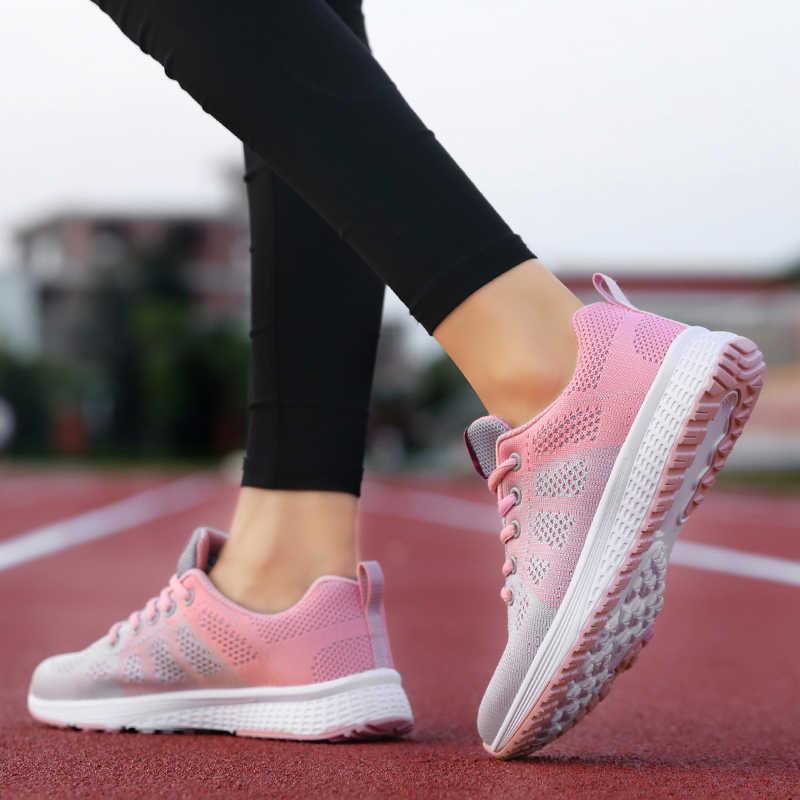 2019 รองเท้าสตรีใหม่รองเท้าแฟชั่นสบายๆรองเท้าผู้หญิงรองเท้าผู้หญิง Lace-Up ตาข่าย Breathable หญิงรองเท้าผ้าใบ Zapatillas Mujer