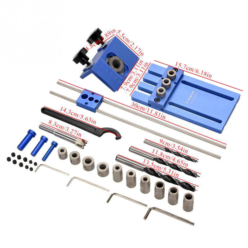 3 In 1 Drilling Locator Drilling Guide Kit ,Woodworking Joinery High Precision Dowel Jigs Kit For Furniture Fast Connecting