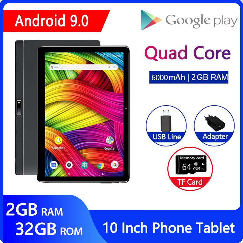 ZONKO 10 Inch Tablet Android 9.0 3G Phone Call Tablet PC WiFi Tablets GPS Netflix Youtube HD WebCam Pad 2GB RAM 32GB ROM