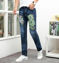2019 Brand jeans men blue embroidery high quality ripped disressed homme denim trousers plus size 29-38 full length male pants high quality brand jeans for men classic denim mens trousers hole ripped straight homme full length pants casual cotton jeans