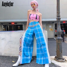 Auyiufar Sexy Side Slit High Waist Straight Pants Women Blue Zipper Plaid Pants Wide Leg Pants Fashion Loose Streetwear 2019 New недорого