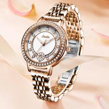 SUNKTA zegarek damski zamów darmową bransoletkę i gotówkę przy odbiorze zegarek damski zegarek damski zegarki damskie relojes para mujer tanie tanio QUARTZ Przycisk ukryte zapięcie CN (pochodzenie) STAINLESS STEEL 3Bar Moda casual 14mm ROUND Odporny na wstrząsy Auto data