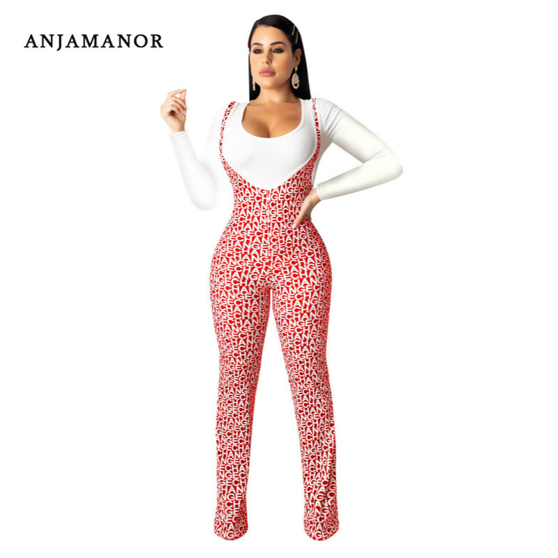 ANJAMANOR Two Piece Set Long Sleeve Top And Pants Suit Women Fall Outfits Overalls Matching Sets Fashion Clothes 2020 D90-AE57