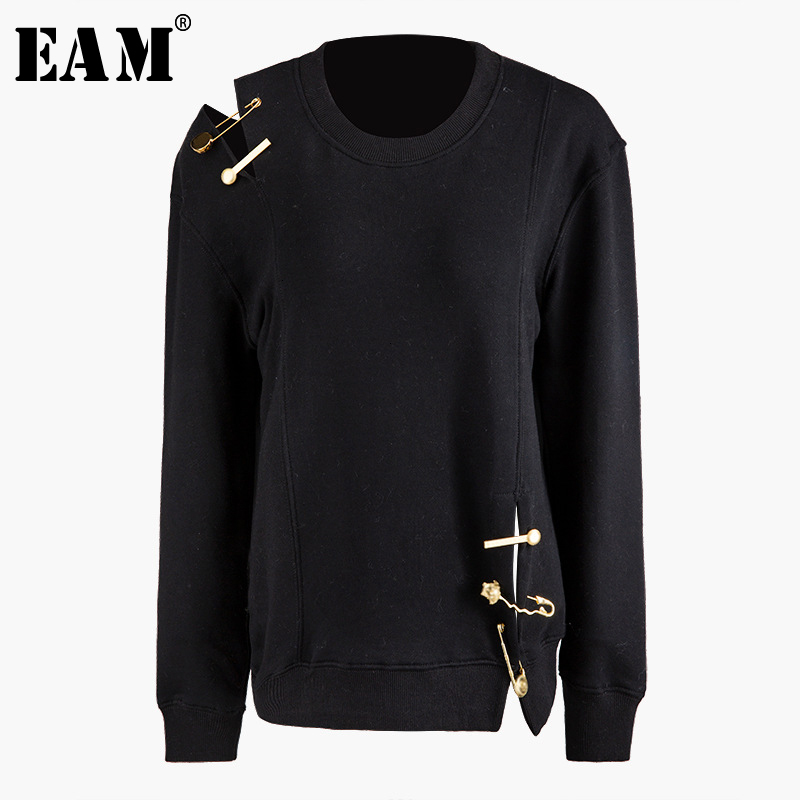 [EAM] Loose Fit Hollow Out Pin Split Sweatshirt New Round Neck Long Sleeve Women Big Size Fashion Tide Autumn Winter 2019 1D766