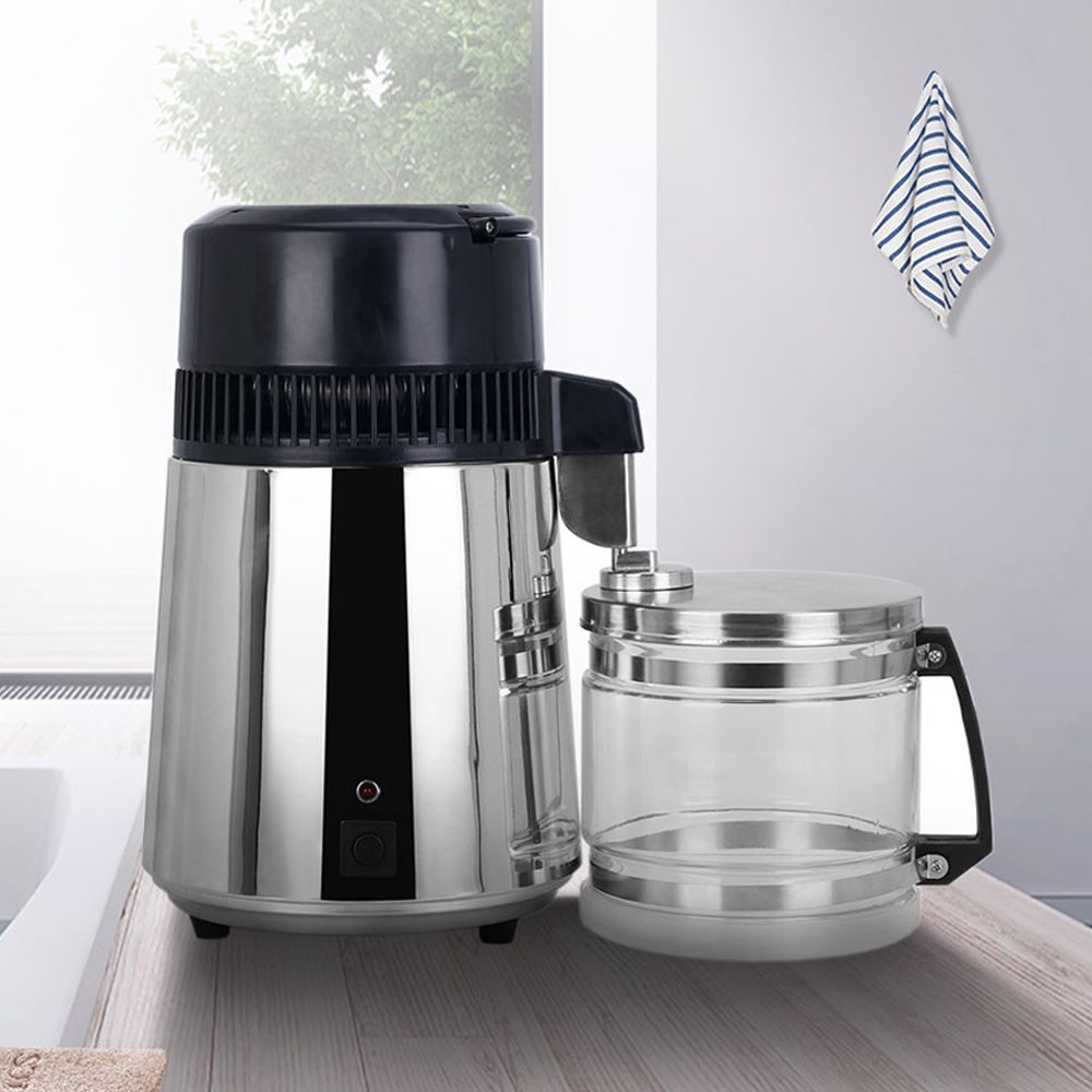 4L Household Pure Water Distiller Machine Distilled Water Distillation Purifier Filter Stainless Steel Glass Jar Carbon Filter