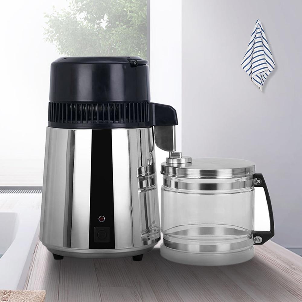 4L Household Pure Water Distiller Machine Distilled Water Distillation Purifier Filter Stainless Steel Glass Jar Carbon Filter