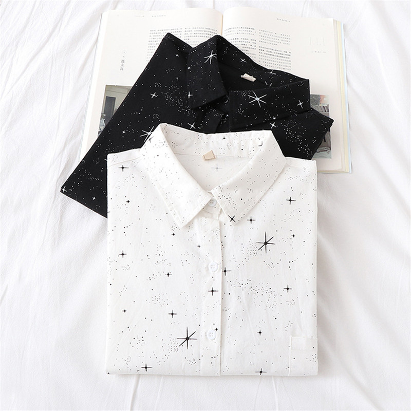 Dioufond 2020 New Twinkle Star Print Women Blouse Shirt Floral White Vintage Blouses Casual Loose Style Shirts Fashion Plus Size