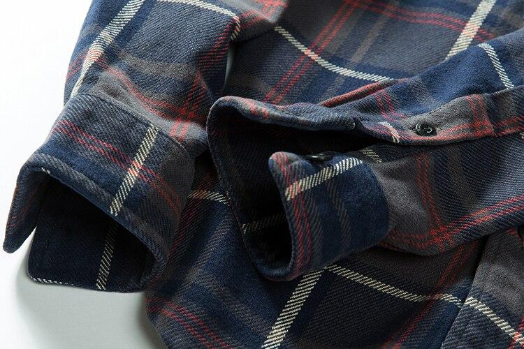 H49c77f2feb0f4aab8e6da9d118f2eb40b 100% cotton heavy weight retro vintage classic red black spring autumn winter long sleeve plaid shirt for men women