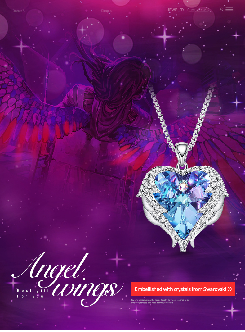 Angel Wings Heart Shape Pendant Necklace with Amethyst Crystal for Women