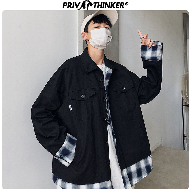 Privathinker Men's Autumn Loose Jacket Men Korean Patchwork Fake Two-piece Jacket Single-breasted Tops Male Streetwear Jacket