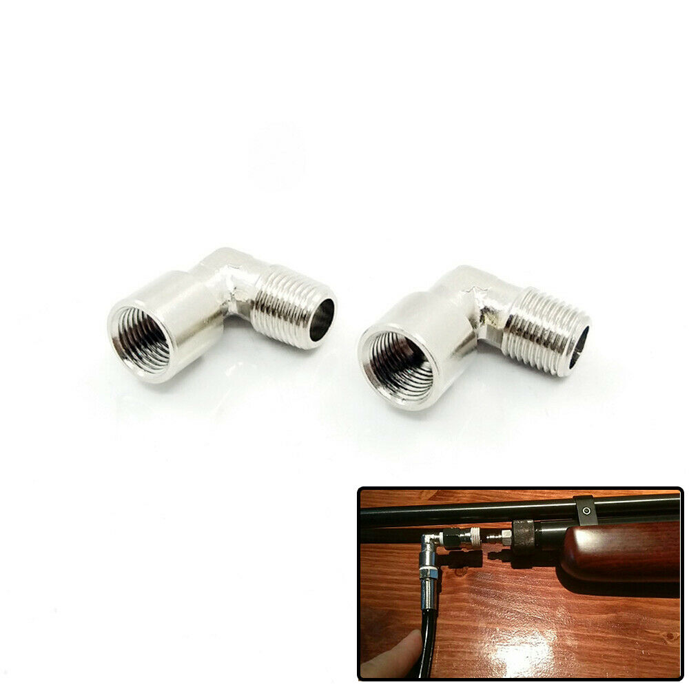 PCP Air Rifle Airgun Paintball 2pcs 90 Degree Elbow Co2 Air Fitting 1/8NPT