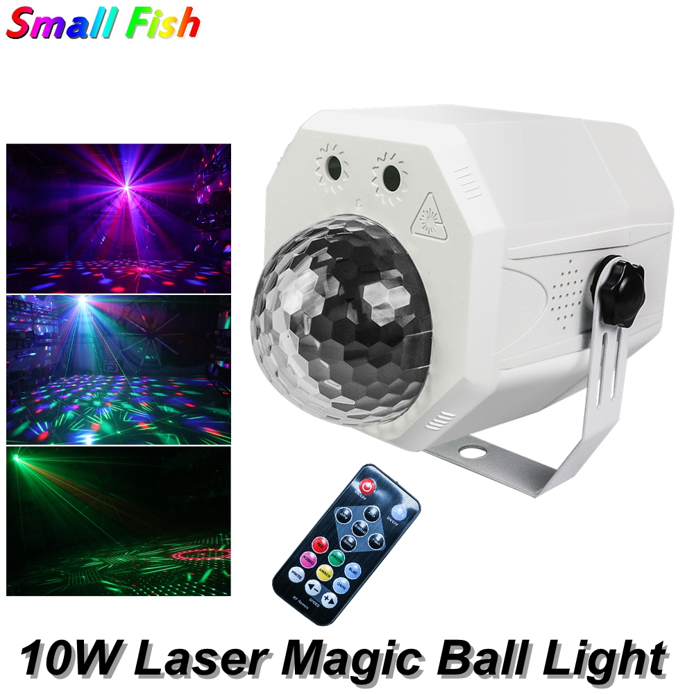Mini RGB 10W Crystal Laser Magic Ball Led Stage Lamp DJ KTV Disco Laser Light Party Lights DMX512 Sound Remote Control Projector