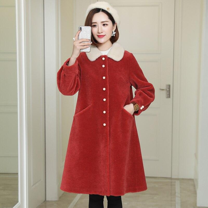 Women Clothes 2020 Spring Jacket Women Sheep Shearing Fur Coats Female Parka Real Mink Fur Collar Winter Clothes LWL1385