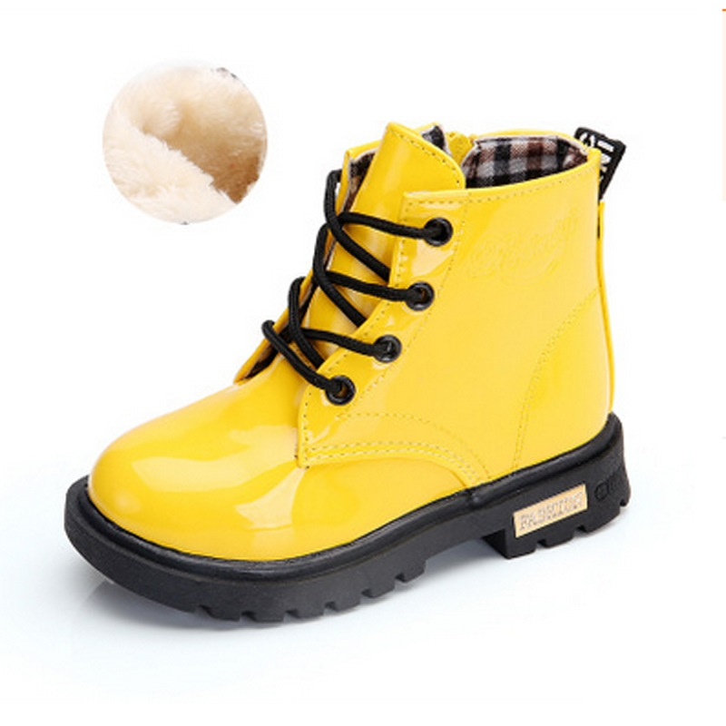 Girls Shoes Boots Martin Kids Patent Big for Candy-Color New-Fashion