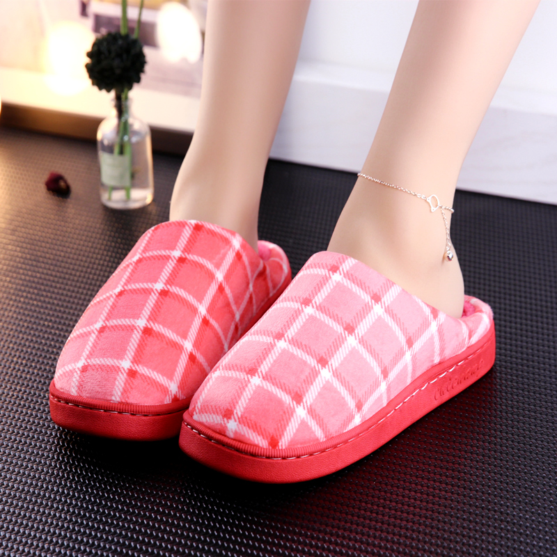 KushyShoo Women Slippers Plush Non Slip Home Shoes Indoor Couple Floor Shoes Bedroom Basic Winter Couple Slippers