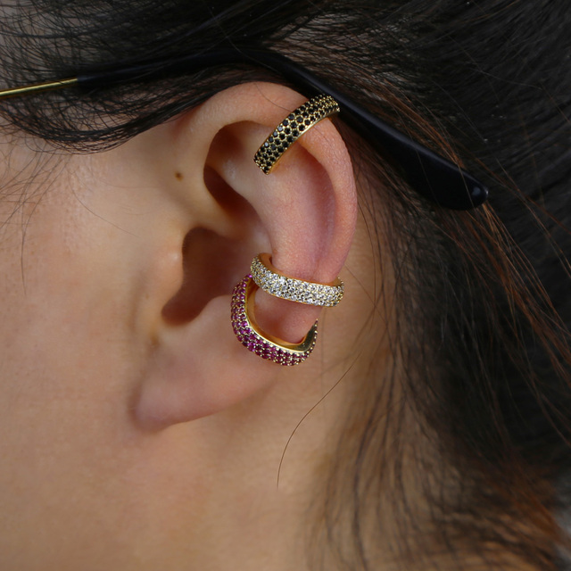 1 Stuk Wit Groen Rood Zwart Cz Vierkante Clip Op Oorbel Kleurrijke Regenboog Cz Geometrische Geen Piercing Stapelen Mode Vrouwen sieraden