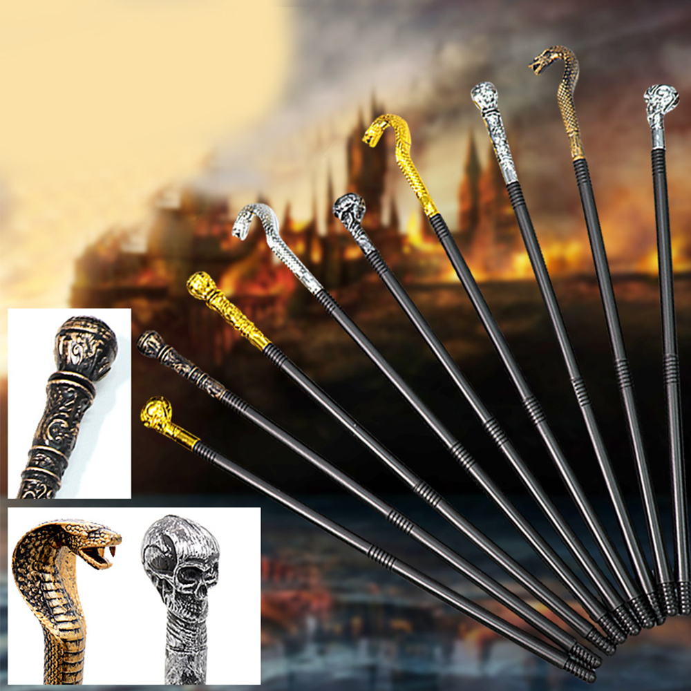Halloween Snake Head Scepter Toy Craved Skull Snake Head Pharaoh King's Magical Wands Halloween Cosplay Kids Scepter Props