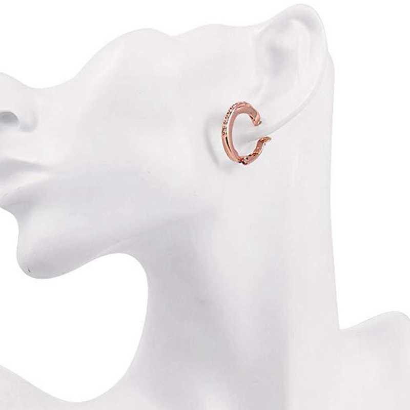 Nuevos pendientes de joyería de alta calidad, pendientes de circonita, pendientes de Clip con hebilla, pendientes de brazalete de oro rosa brasileño, joyería