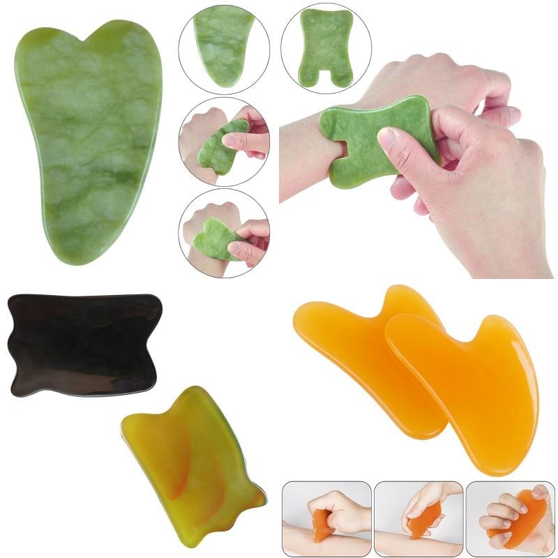 1pcs Natural Green Jade Guasha Board SPA Acupuncture Scraper Stone Facial Anti-wrinkle Treatment Massage Tool Body Health Care