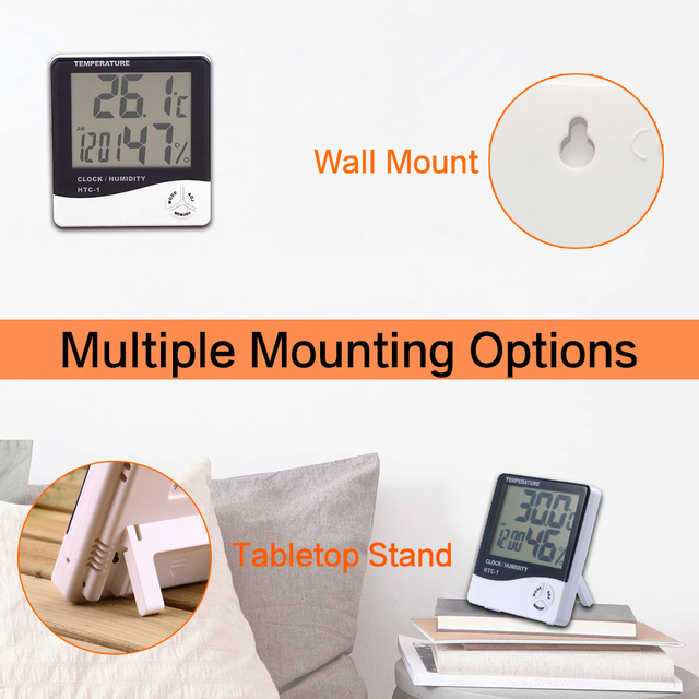 LCD Electronic Digital Temperature Humidity Meter Thermometer Hygrometer Indoor Outdoor Weather Station Clock HTC-1 HTC-2 4