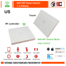 Wifi+RF  Smart Wall  Switch 1Gang 2Gang 3Gang 1Way Wireless Remote Light Relay App Control Work with Alexa Google HomeTouch  US