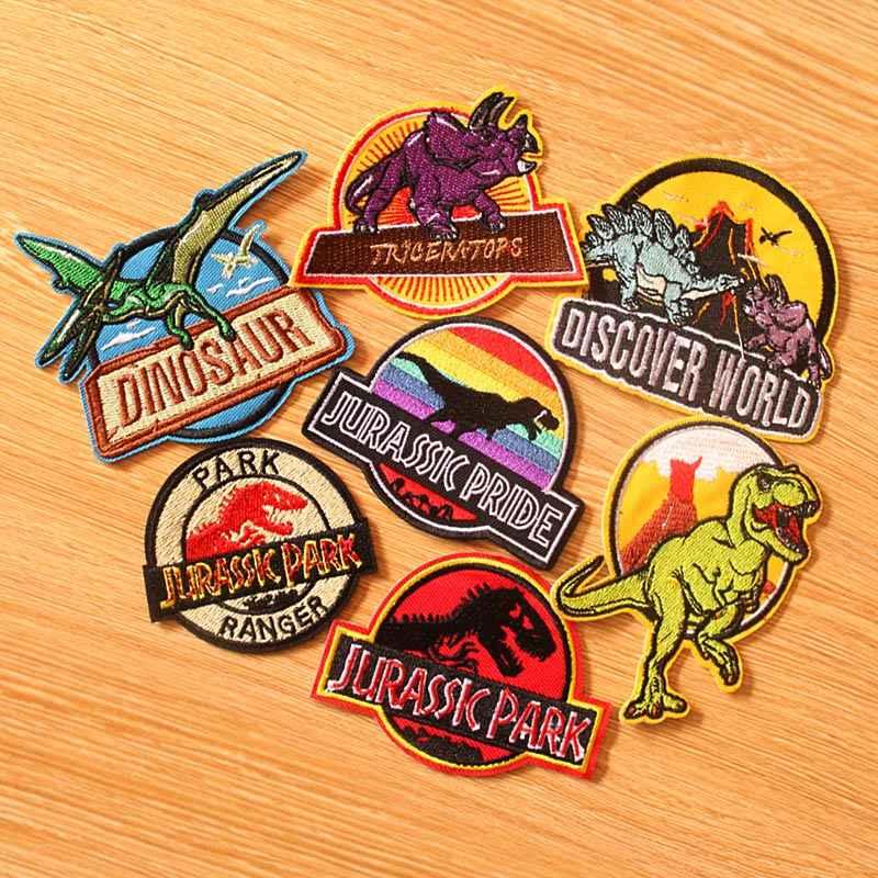 DIY 후크 루프 패치 쥬라기 공원 패치 의류에 대한 수 놓은 패치 의류에 패치에 공룡 패치 다리미 스티커 배지