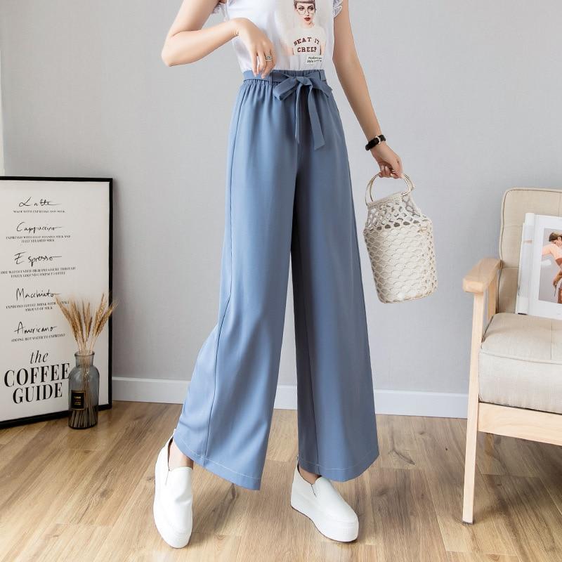 S-2xl Summer Lace Up   Wide     Leg     Pants   Women 2019 High Waist Chiffon   Pants   For Women Loose Black Trousers Women Pantalones Mujer