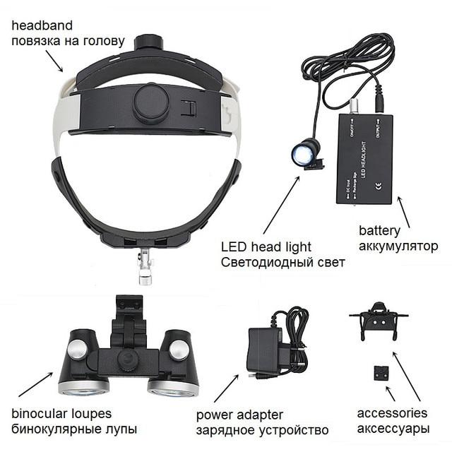 LED Headband Dental Loupes Binocular Magnifier Headlight High Resolution Optical Glass Lens Medical Surgical Cosmetic Surgery