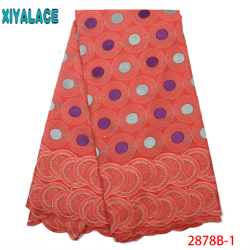 Orange African Lace Fabric High Quality Nigerian Embroidered Fabrics New Dubai Lace Fabric With Stones KS2878B-1
