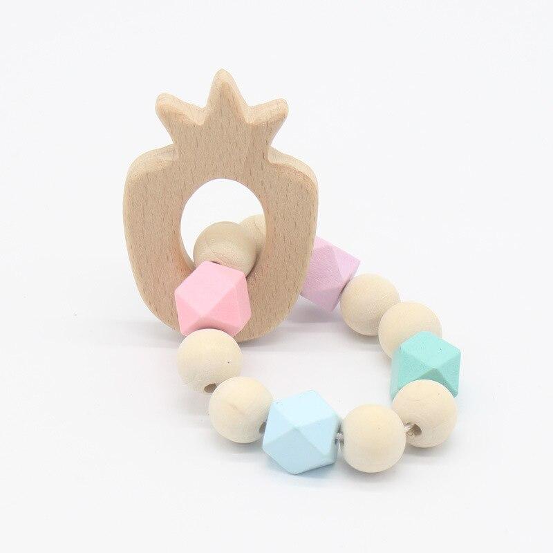 Baby Animal Shaped Wood Silicone Beads Teether Ring Infant Teething Bracelet Toy
