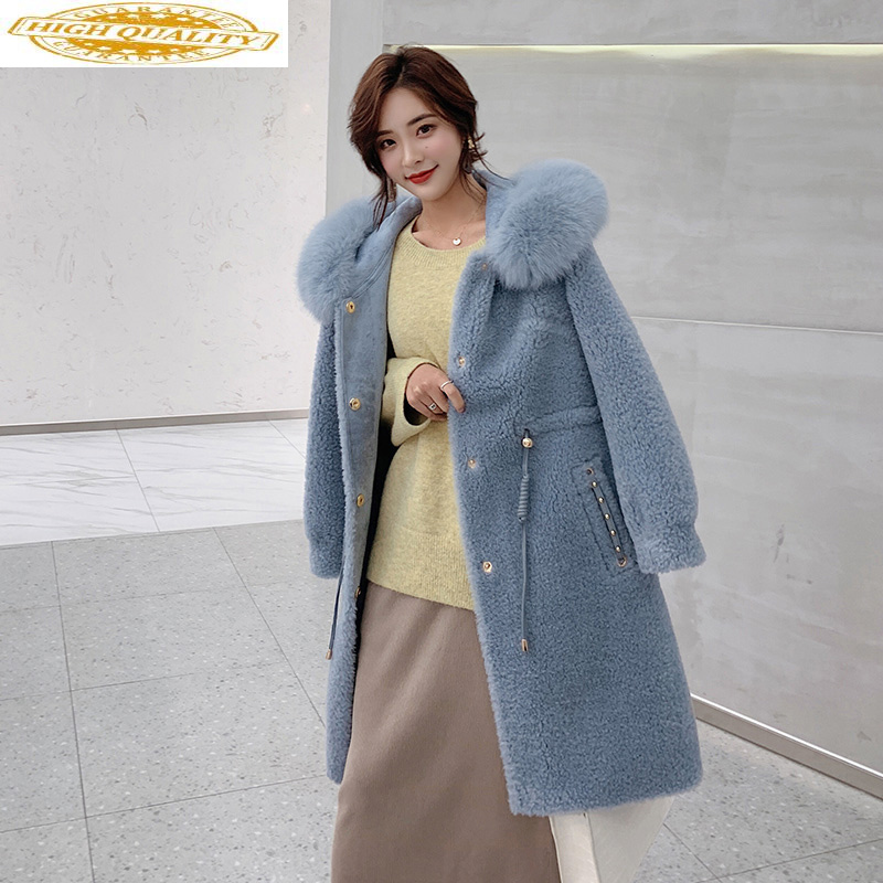 Real Fur Coat 2020 Winter Jacket Women Sheep Shearling Fur Korean Jackets For Women Fox Fur Collar 100% Wool Coat MY3871
