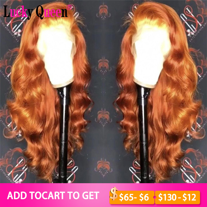 Orange Ginger Glueless 13x6 Lace Front Human Hair Wigs With Bangs Lace Frontal Wigs Brazilian Body Wave 100% Human Hair Remy