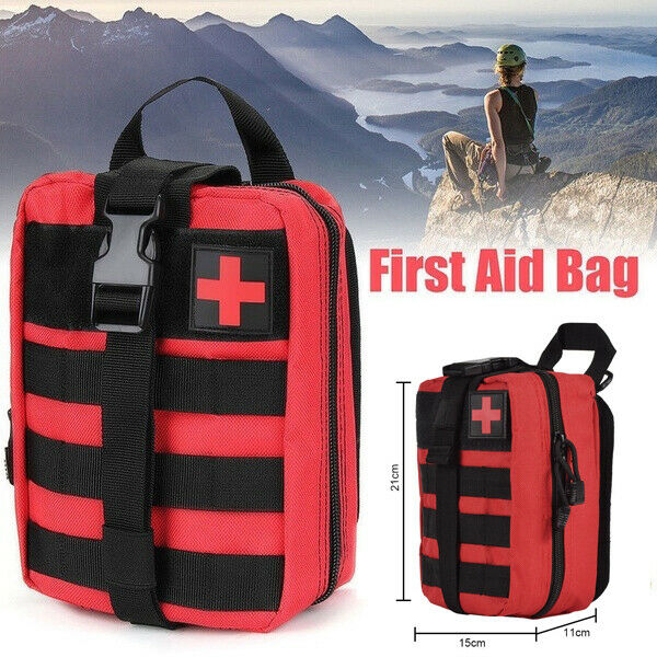 Tactical First Aid Medical Kit Molle Rip-Away Pouch Red Emergency Survival Gear Bag Outdoor Zipper Portable Travel Carry Bag