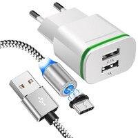 2-Puerto USB magnético rápido cargador Micro USB Cable para Xiaomi 10 9T 9 SE CC9 Redmi 6 6A 7A Nota 9 8 4X 5 5A 7 K20 K30 tipo C Cable