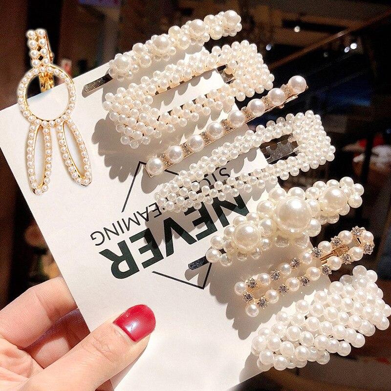 Hot Sale 1 Set Girls Women Pearls Hair Clips Headwear Barrettes Hairclip Fashion Elegant Geometric Hairpins Hair Accessories