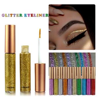 Shimmer Glitter Eyes Liner 10 kolorów wodoodporny Pigment czerwony biały złoty płynny Eyeliner Glitter makijaż wysokiej jakości cekiny TSLM1 tanie i dobre opinie ELECOOL Łatwe do noszenia Długotrwała Naturalne various Powyżej ośmiu kolorach CHINA Luminous Brokat Metalowe radiant
