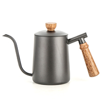 600Ml Wooden Handle Stainless Steel Teapot Drip Coffee Pot Long Mouth Pot Kettle Home Kitchen Tea Set