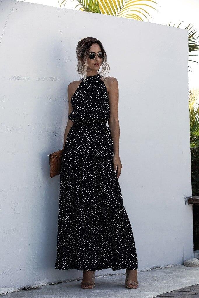 Summer Elegant  beach Women Dress  2020 long Print Flowers Polka-dot strap Ladies Halter boho Dress Vintage party ladies Dress 17