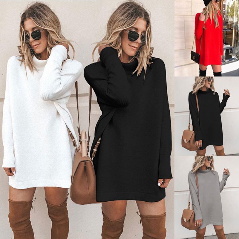 4-color hot sale autumn and winter 2019 fashionable slim round neck long sleeve women's knitting dress 100261