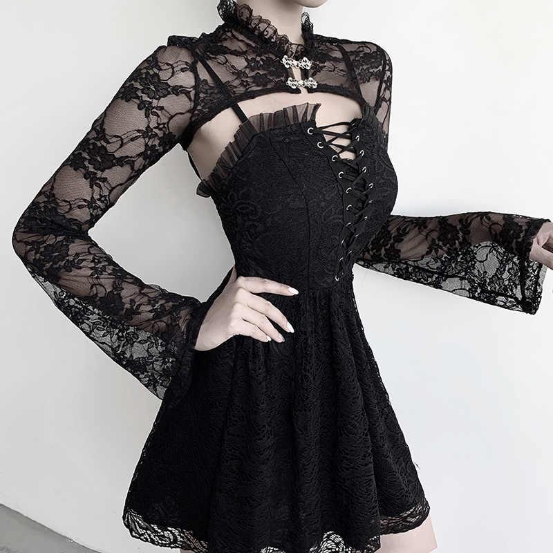 InsGoth เซ็กซี่ลูกไม้สั้นเสื้อผู้หญิงวินเทจดอกไม้เย็บปักถักร้อยเสื้อแขนยาว Gothic Streetwear ปาร์ตี้ Elegant Tops