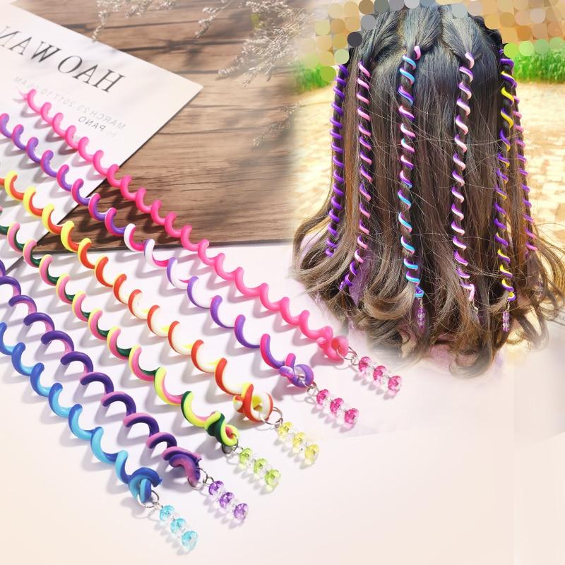 6PCS/Lot Cute Girls Colorful Crystal Headbands Long Hair Bands Headwear Children Hair Ornament Hairbands Kids Hair Accessories