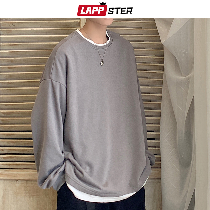LAPPSTER Men Oversized Casual Solid Graphic Tshirts Long Sleeve 2020 Long Sleeve T Shirt Men Harajuku Tshirt Kpop Clothes 5XL