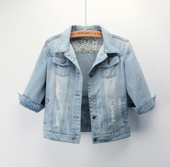 2019 New Autumn Short Section Slim Casual Large Size Seven-point Sleeve Denim Jacket Female Jacket Top