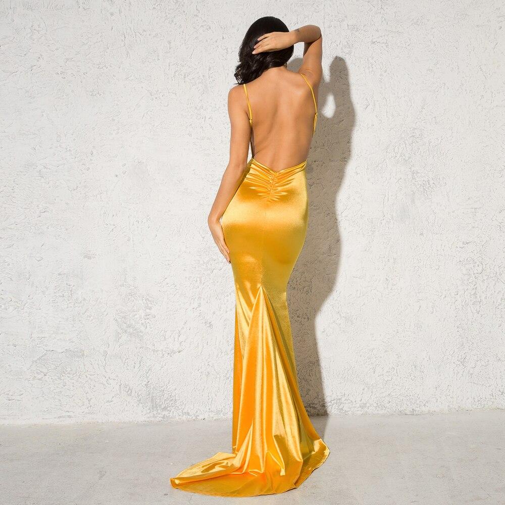 Deep V-Neck Burgundy Satin Mermaid Open Back Long Evening Dress 10
