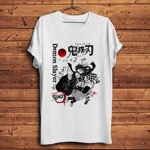 Demon Slayer Kamado Tanjirou Nezuko śmieszne Anime t shirt mężczyźni Homme nowa biała koszulka z krótkim rękawem koszulka na co dzień Unisex Streetwear Tee